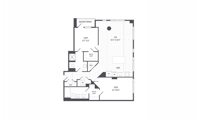 The Lindley Floor Plans Two Bedroom Apartment With Balcony