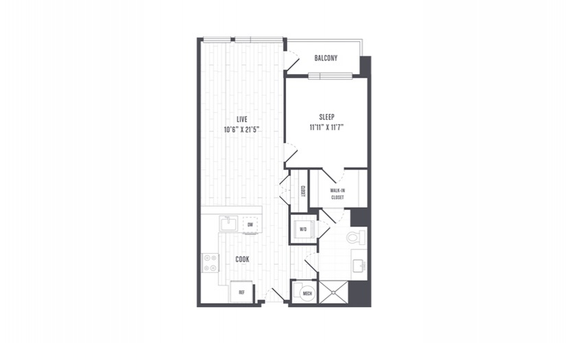 The Lindley Floor Plans One Bedroom With Balcony