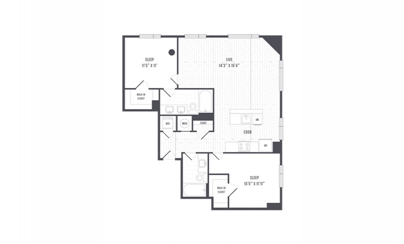 The Lindley Floor Plans Two Bedroom Apartment