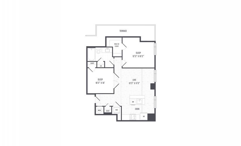 The Lindley Floor Plans Two Bedroom Apartment With Terrace
